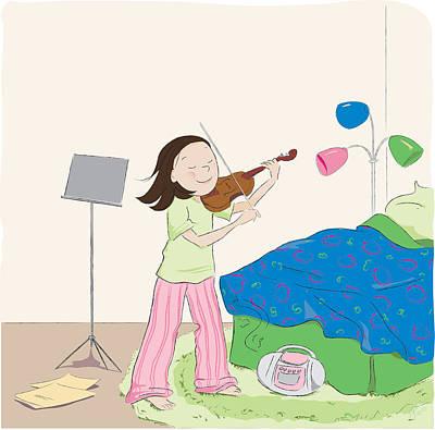 Violin Digital Art - Violin Practice by Monette Pangan