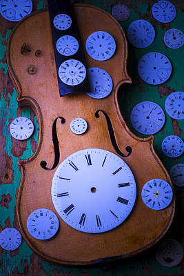 Beaten Up Photograph - Violin With Watch Faces by Garry Gay