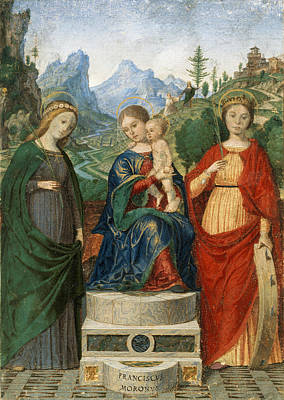 Virgin And Child Enthroned Between Saints Cecilia And Catherine Of Alexandria Print by Francesco Morone
