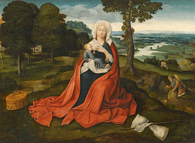 Joachim Patinir Painting - Virgin And Child Seated Before An Extensive Landscape by Workshop of Joachim Patinir