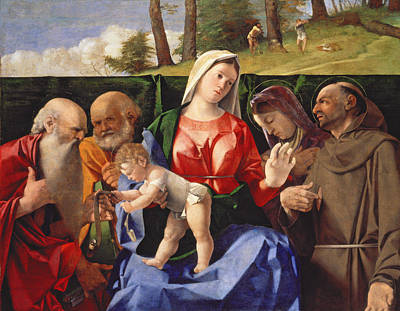 Jesus Art Painting - Virgin And Child With Saints Jerome, Peter, Clare And Francis by Lorenzo Lotto