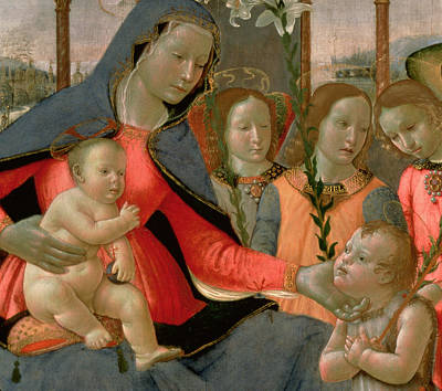 Jesus Art Painting - Virgin And Child With St John The Baptist And The Three Archangels by Bastiano Mainardi