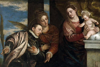 Carlo Caliari Painting - Virgin And Child With St Lucia And Holy Martyr by Carlo Caliari