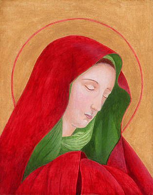 Greek Icon Painting - Virgin Mary 3 by Jacqueline Savidge
