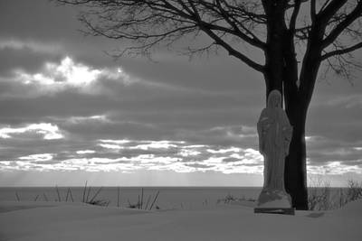 Mother Mary Photograph - Virgin Mary At Sunset In South Haven Michigan by Dan Sproul