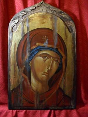 Byzantine Greek Icon Painting - Virgin Mary Byzantine Icon by Lefteris Skaliotis