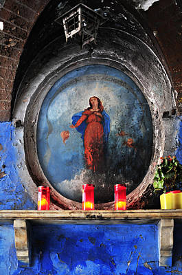 Christian Art . Devotional Art Photograph - Virgin Mary Grotto In Rome by Angela Bonilla