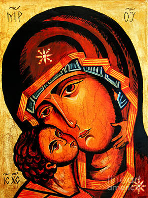 Byzantine Icon Painting - Virgin Of Tenderness by Ryszard Sleczka