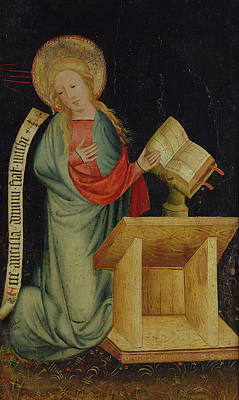 Altar Photograph - Virgin Of The Annunciation, From The Harvester Altar, C.1410 Tempera On Oak See Also 145253 by Master Bertram of Minden