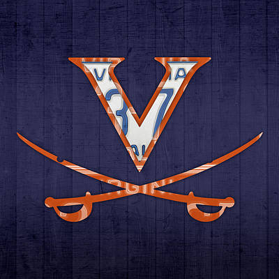 Virginia Cavaliers College Sports Team Retro Vintage Recycled License Plate Art Print by Design Turnpike