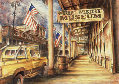 Ghost Towns Drawing - Virginia City Nevada - Western Art by Art America Online Gallery