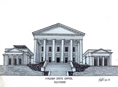 Capitol Building Drawing - Virginia State Capitol by Frederic Kohli