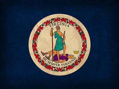 Virginia State Flag Art On Worn Canvas Print by Design Turnpike