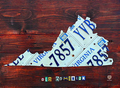 Virginia State License Plate Map Art On Fruitwood Old Dominion Print by Design Turnpike