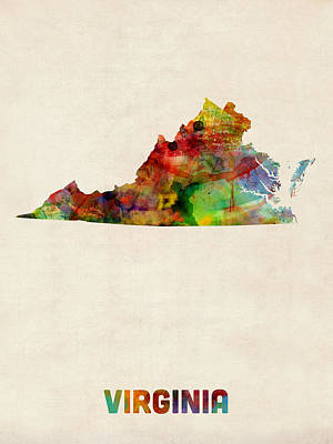 Geography Digital Art - Virginia Watercolor Map by Michael Tompsett