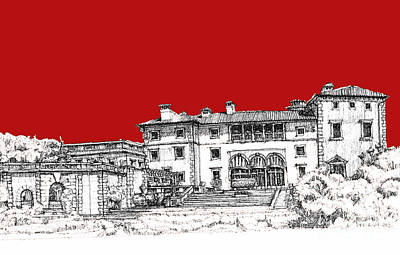 Pen Drawing - Viscaya Museuem And Gardens In Scarlet by Building  Art