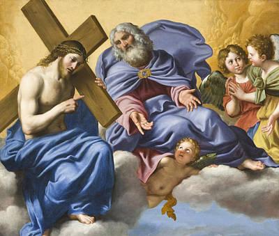 Jesus Christ Digital Art - Vision Of Christ And God Detail by Domenico Zampieri