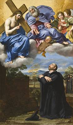 Jesus Christ Digital Art - Vision Of Christ And God by Domenico Zampieri