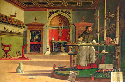 Small Dogs Painting - Vision Of St. Augustine by Vittore Carpaccio