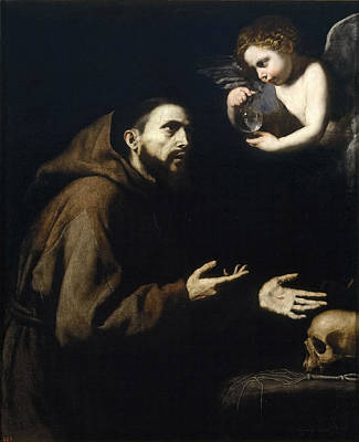 Vision Painting - Vision Of St. Francis Of Assisi by Jusepe de Ribera