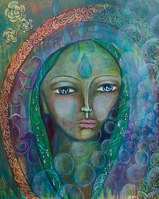 Visioning Woman Of Living Waters Print by Havi Mandell