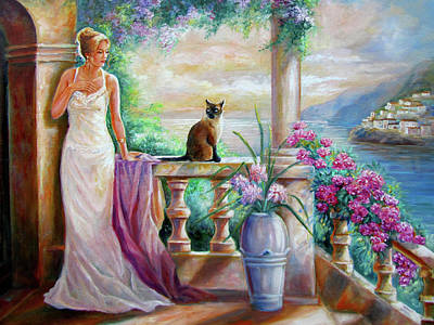 Evening Gown Painting - Visit With A Furry Friend by Regina Femrite