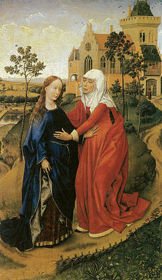 Visitation Of Mary Print by Rogier Van Der Weyden