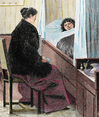 Visiting A Sick Woman Print by Prisma Archivo