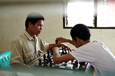Visually Impaired People Playing Chess Print by Matthew Oldfield