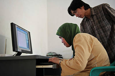 Visually Impaired Woman Using Computer Print by Matthew Oldfield