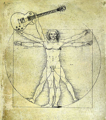 Rock And Roll Drawing - Vitruvian Guitar Man by Jon Neidert