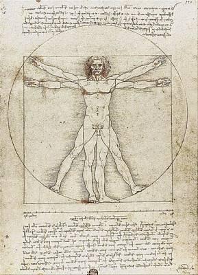 Vitruvian Man By Leonardo Da Vinci Print by Serge Averbukh