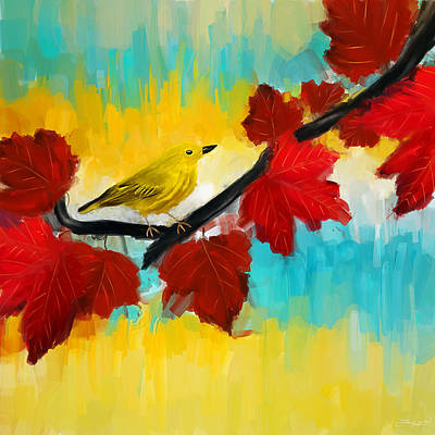 Warbler Painting - Vividness by Lourry Legarde