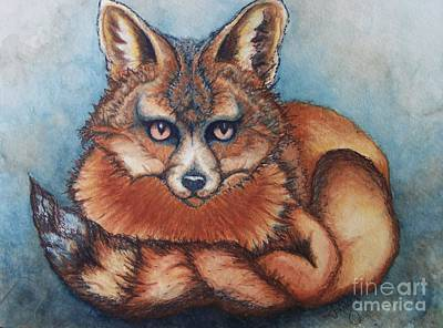 Red Fox Painting - Vixen by Janine Riley