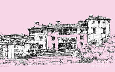 Pen Drawing - Vizacaya Museum In Baby Pink  by Building  Art