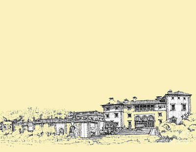 Pen Drawing - Vizcaya In Cream  by Building  Art
