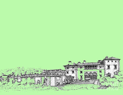 Lime Drawing - Vizcaya In Lime-green by Building  Art