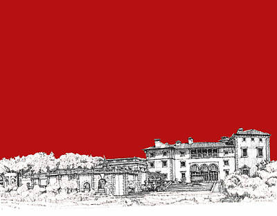 Pen Drawing - Vizcaya In Red by Building  Art