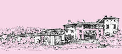 Pen Drawing - Vizcaya Museum And Gardens Baby Pink by Building  Art