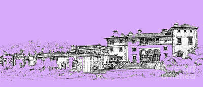 Pen Drawing - Vizcaya Museum And Gardens In Lilac by Building  Art