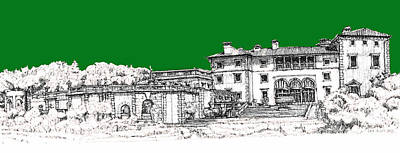Pen Drawing - Vizcaya Museum And Gardens In Pine Green by Building  Art