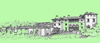 Pen Drawing - Vizcaya Museum And Gardens In Pistachio Green by Building  Art