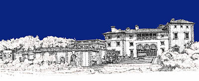 Pen Drawing - Vizcaya Museum And Gardens In Royal Blue by Building  Art