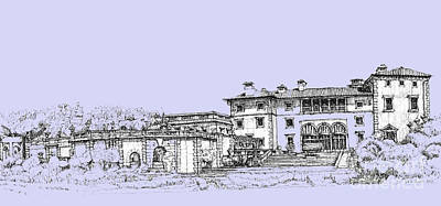 Pen Drawing - Vizcaya Museum And Gardens In Soft Blue by Building  Art