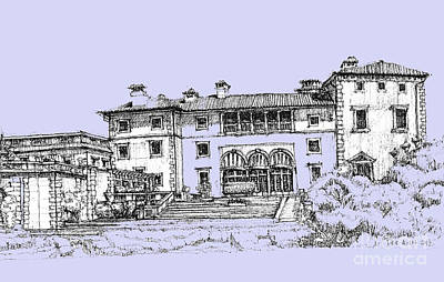Pen Drawing - Vizcaya Museum And Gardens Powder Blue by Building  Art