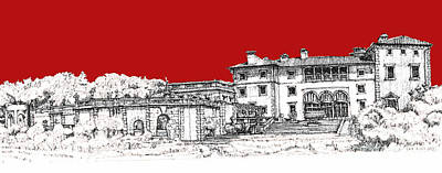 Pen Drawing - Vizcaya Museum And Gardens Scarlet by Building  Art