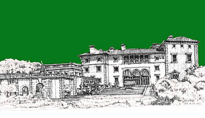 Pen Drawing - Vizcaya Museum In Green by Building  Art