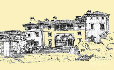 Pen Drawing - Vizcaya Museum In Light Peach by Building  Art