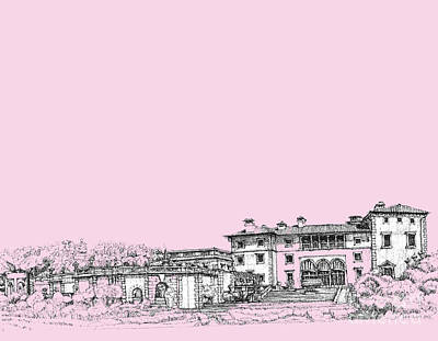 Pen Drawing - Vizcaya Museum In Pink by Building  Art