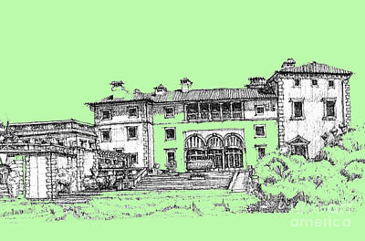 Pen Drawing - Vizcaya Museum In Pistachio by Building  Art